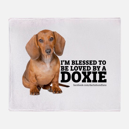 Loved by a Doxie Throw Blanket