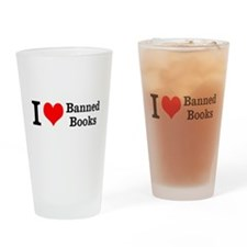 Love Banned Books Drinking Glass