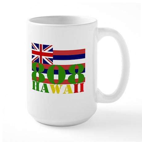 Hawaii 808 with Hawaiian Flag Large Mug