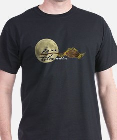 Fly Me to the Moon Black T-Shirt