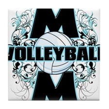 Volleyball Mom (cross).png Tile Coaster
