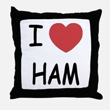 I heart ham Throw Pillow