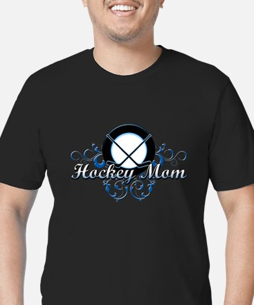 Hockey Mom (puck).png Men's Fitted T-Shirt (dark)