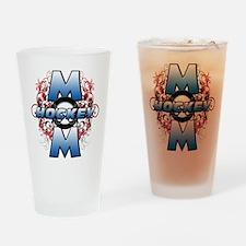 Hockey Mom (cross).png Drinking Glass