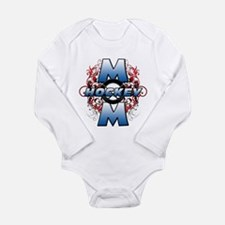 Hockey Mom (cross).png Long Sleeve Infant Bodysuit