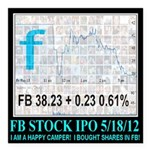 FB Stock IPO Happy Camper Poster Square Car Magnet