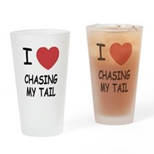 I heart chasing my tail Drinking Glass