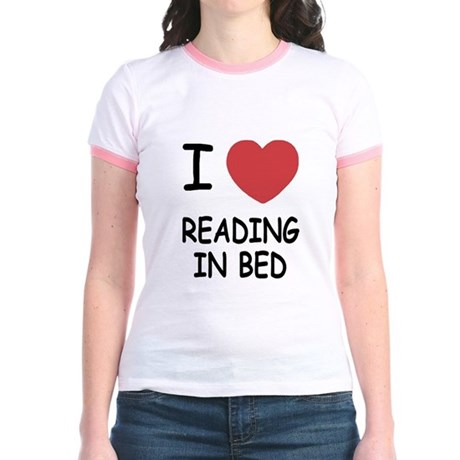 I heart reading in bed Jr. Ringer T-Shirt