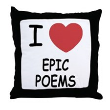 I heart epic poems Throw Pillow