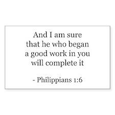 Philippians 1:6 Rectangle Decal