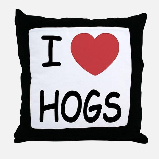 I heart hogs Throw Pillow