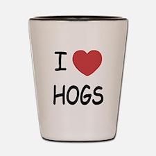 I heart hogs Shot Glass