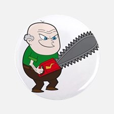 """Angry Chainsaw man Cartoon 3.5"""" Button"""