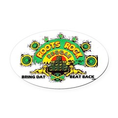 ROOTS ROCK REGGAE.. Oval Car Magnet