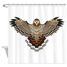 Beadwork Red-Tailed Hawk Shower Curtain