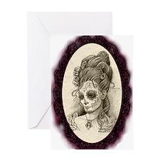 Maroon Dia de los Muertos Greeting Card
