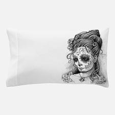 Maroon Dia de los Muertos Pillow Case