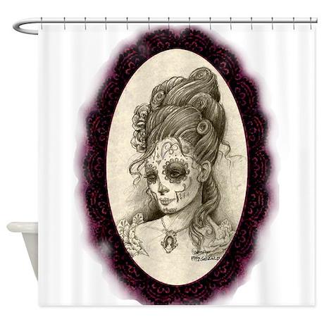 Maroon Dia De Los Muertos Shower Curtain By Cathyfitzgeraldtattoo