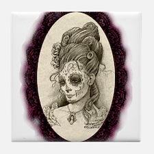 Maroon Dia de los Muertos Tile Coaster