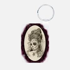 Maroon Dia de los Muertos Keychains