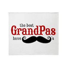 Best Grandpas Have Mustaches Throw Blanket