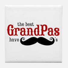Best Grandpas Have Mustaches Tile Coaster