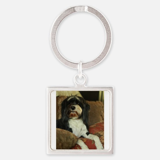 Konnor black and white Tibetan terrier f Keychains