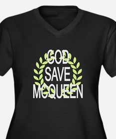 God Save McQueen Women's Plus Size V-Neck Dark T-S