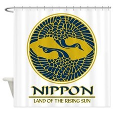 Nippon (Crane) Blue.png Shower Curtain