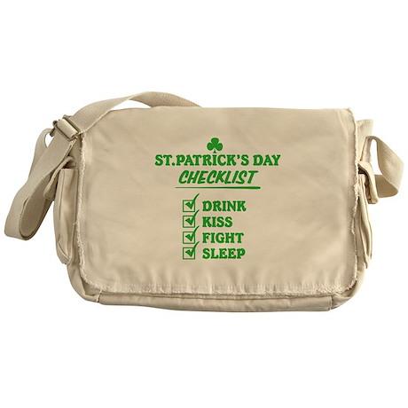 St Patricks Day Checklist Messenger Bag