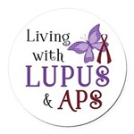 Living with Lupus APS Round Car Magnet