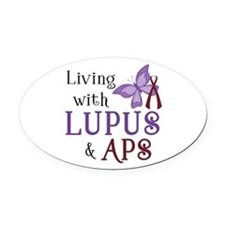 Living with Lupus APS Oval Car Magnet