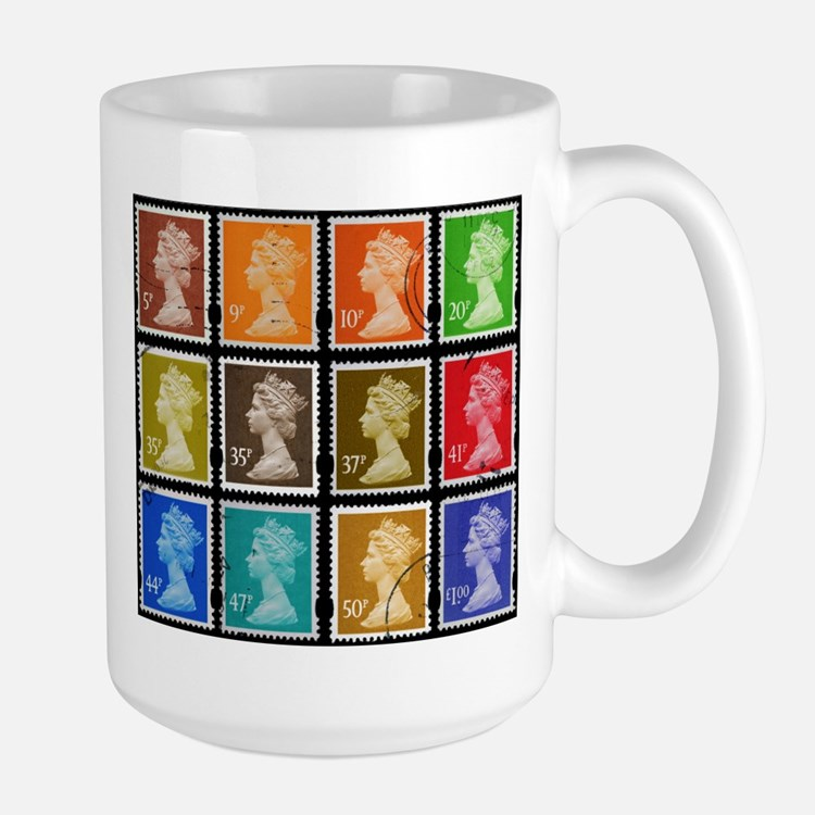 UK Stamps Large Mug