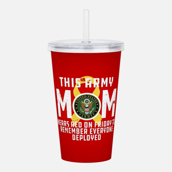 Army Mom Wears RED Acrylic Double-wall Tumbler