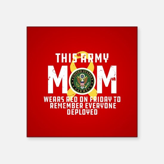 """Army Mom Wears RED Square Sticker 3"""" x 3"""""""