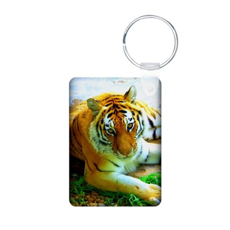 Exotic Tiger Aluminum Photo Keychain