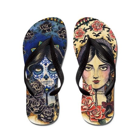 Sombrero Skull Flip Flops
