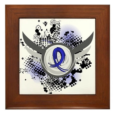 Wings and Ribbon Anal Cancer Framed Tile