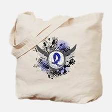 Wings and Ribbon Anal Cancer Tote Bag