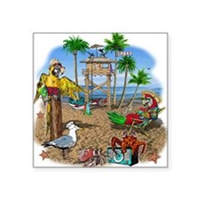"Parrot Beach Party Square Sticker 3"" x 3"""