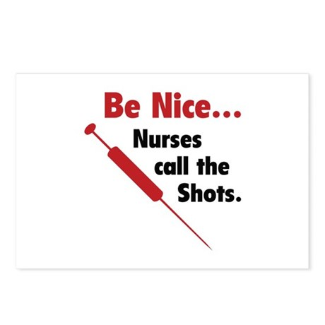 Be Nice ... Nurses Call The Shots Postcards (Packa