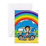 Hippie Rock Star and Van Greeting Card