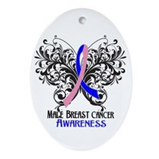 Butterfly Male Breast Cancer Ornament (Oval)