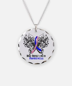 Butterfly Male Breast Cancer Necklace