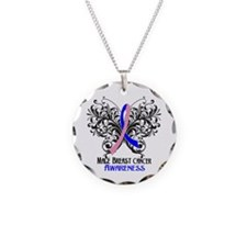 Butterfly Male Breast Cancer Necklace Circle Charm