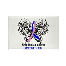 Butterfly Male Breast Cancer Rectangle Magnet