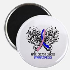 """Butterfly Male Breast Cancer 2.25"""" Magnet (100 pac"""