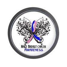 Butterfly Male Breast Cancer Wall Clock