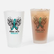 Butterfly Ovarian Cancer Drinking Glass