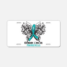 Butterfly Ovarian Cancer Aluminum License Plate